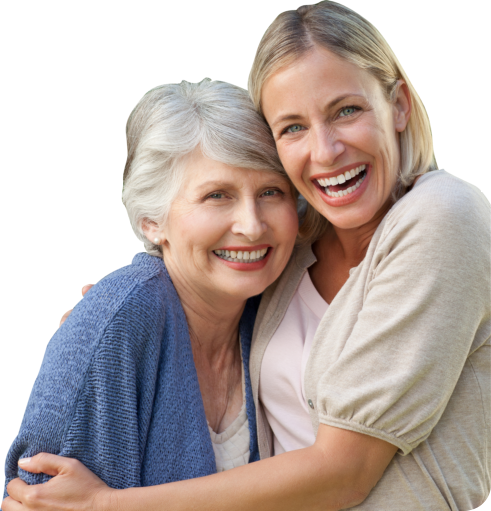 old lady with her caregiver smiling